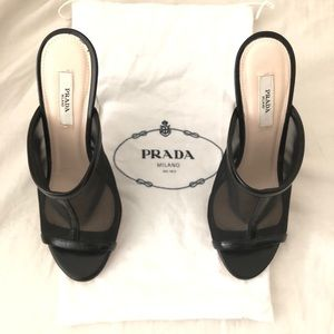 PRADA black mesh Lucite high clear heel sandal, 6